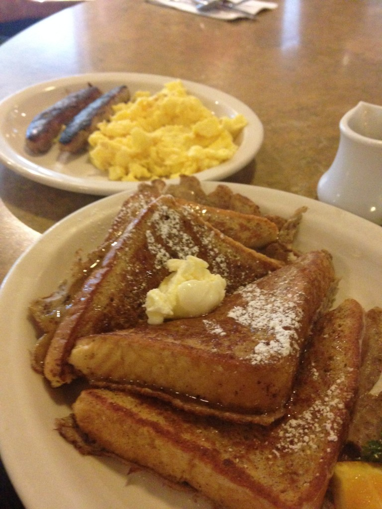 Breakfast at Ojai - French toast, scrambled eggs and sausage (this is one portion)
